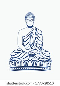 Buddha meditating sitting in Siddhasana hand drawn vector line illustration on white