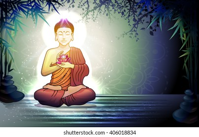 Buddha lotus images stock photos vectors shutterstock buddha in meditation with lotus flower in tranquil zen garden transparency blending effects and gradient mightylinksfo