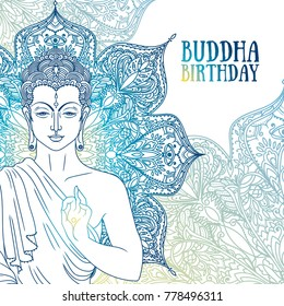 Buddha in meditation on beautiful and magical mandala, can be used as greeting card for buddha birthday, vector illustration