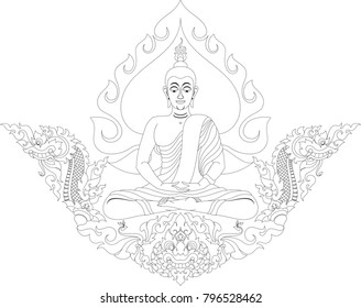 Buddha Meditation with Swirl Doodle Bodhi Leaf, Naga Head, Swan and Giant Face. Traditional Thai and Laos Artwork Style, Designed for Artwork, Paperwork, Woodwork, Metalwork, Screen printing, Pattern