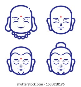 Buddha and monk face vector illustration. A smiling monks face for logo or icon template design. Thai,Chinese and asia buddha face.