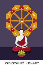 Buddha and Noble Eightfold Path. Dharma Wheel Concept. The path of liberation from Samsara.