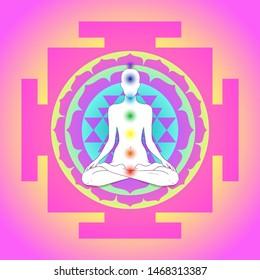 Buddha over Sri Yantra or Sri Chakra, form of mystical diagram, Shri Vidya school of Hindu tantra symbol. Sacred geometry vector design element. Vector illustration. Alchemy, occultism, spirituality.
