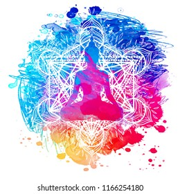 Buddha over watercolor background. Vector illustration. Vintage decorative composition. Indian, Buddhism, Spiritual motifs. Tattoo, yoga, spirituality.