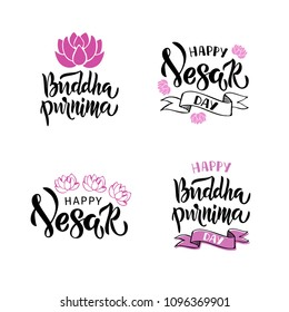 Buddha Purnima - handwritten modern lettering. Template for postcard or invitation card, banner, backgrounds, greetings, poster, print. Isolated on white background. Vector illustration.