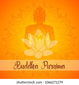 Buddha Purnima Vector illustration greeting card. Mandala, lotus flower with buddhas silhouette.