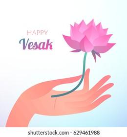 Buddha Purnima or Vesak card. Vector illustration with elegant hand holding lotus flower on light background.