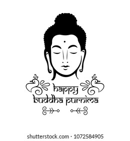 Buddha Purnima wishes vector illustration with buddha head. Can be used for banner, backgrounds, greetings, poster, symbol, icon, print, text logo and buddhist designs.
