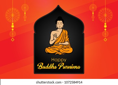 Buddha Purnima wishes vector illustration with buddha and lotus flower. Can be used for banner, backgrounds, greetings, poster, symbol, icon, print, text logo and buddhist designs.