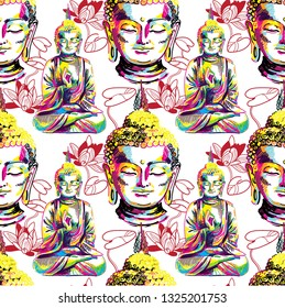 Buddha seamless pattern. Buddhism, yoga. Figure markers. Pop Art. Bright print, colored spots. Freehand drawing.