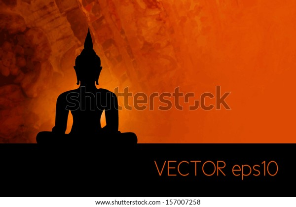Buddha silhouette against red grunge background