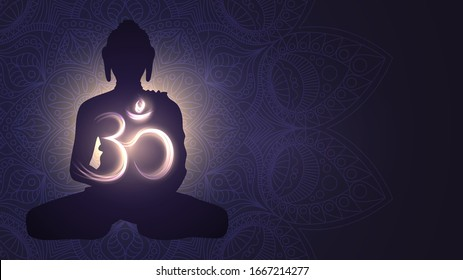 Buddha silhouette and glowing sign Om, Hinduism, Buddhism