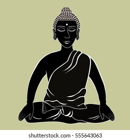 Buddha sitting in the lotus Indian meditation closed eyes black. vector illustration