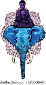 buddha sitting on elephant head vector illustration
