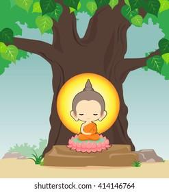 Buddha sitting on lotus flower under tree -Vector illustration