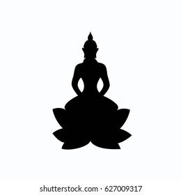 Buddha sitting on lotus flower. Black silhouette. Symbol. Yoga logo. Vector art