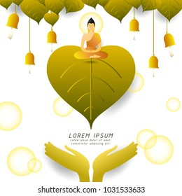 Buddha sitting under Bodhi tree with ringing bells,Buddhist holiday,vector illustration for invitation or greeting card,gradient style