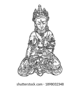 Buddha spiritual portrait. Bodhisattva. Gautama Buddha sitting in lotus pose and meditating. Indian spiritual teacher, Buddhism religious leader. Yoga zen club design. Vector.