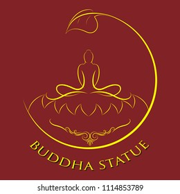 buddha statue in ancient tracery and calligraphic element with vintage frame, The important day of buddhist concept,  vector illustration