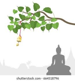 Buddha statue and Bodhi tree with Golden bell of thai tradition, Visakha Puja Day, vector illustration.