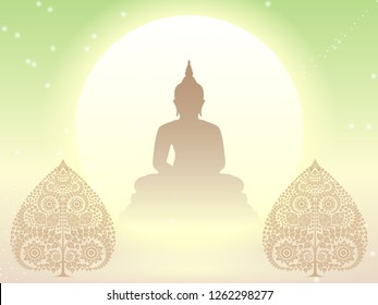 Buddha statue and Bodhi tree of thai tradition,greeting card,illustration vector eps10.