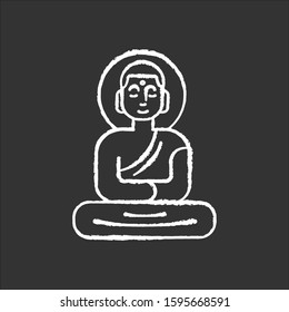 Buddha statue chalk icon. Sitting meditation in lotus pose. Symbol of peace and harmony. Discovering Indonesian islands culture. Oriental religious sculpture. Isolated vector chalkboard illustration