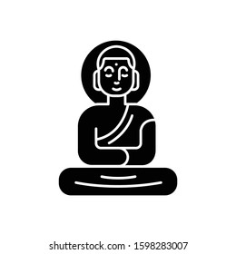 Buddha statue glyph icon. Sitting meditation in lotus pose. Symbol of peace and harmony. Oriental religious sculpture. Silhouette symbol. Negative space. Vector isolated illustration
