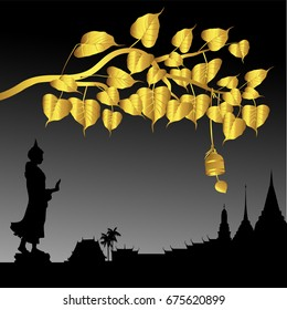 Buddha statue and Gold Bodhi tree with Golden bell of Thai tradition, Visakha Puja Day, vector illustration.