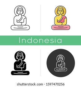 Buddha statue icon. Sitting meditation in lotus pose. Symbol of peace and harmony. Oriental religious sculpture. Linear, black, chalk and color styles. Isolated vector illustrations