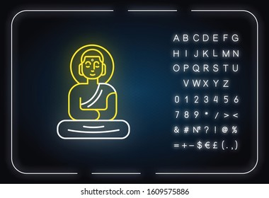 Buddha statue neon light icon. Sitting meditation in lotus pose. Symbol of peace and harmony. Oriental religious sculpture. Glowing sign with alphabet, numbers, symbols. Vector isolated illustration
