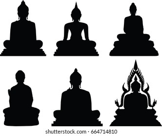 buddha statue in silhouette on vector