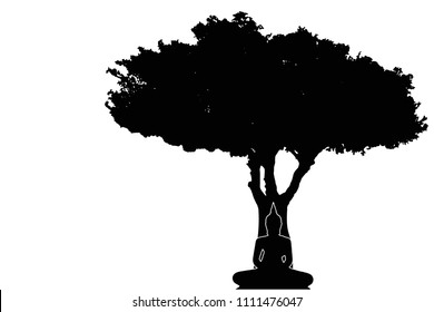 Buddha statue under the tree with silhouette design by vector