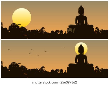 Buddha Sunset: Buddha statue in the jungle at sunset. 2 different versions. No transparency used. Basic (linear) gradients used.