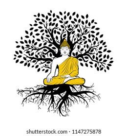 Buddha and tree of life, logo icon