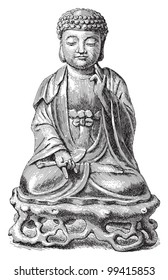 Buddha / vintage illustration from Meyers Konversations-Lexikon 1897