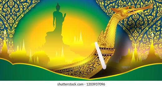 Buddha Wat Tha Yai Royal Suphan Swan pattern background Thai traditional pattern flower ornamental gold wall of Buddhism.