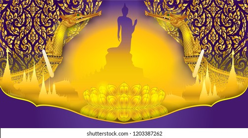 Buddha Wat Thai Royal Suphan Swan pattern background Thai traditional pattern flower ornamental gold wall of Buddhism.