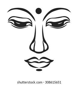 Buddha's face. Vector illustration.