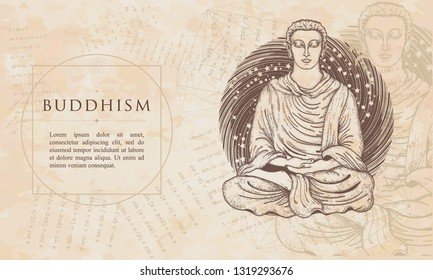 Buddhism. God Buddha in lotus position. Renaissance background. Medieval manuscript, engraving art