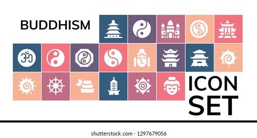 buddhism icon set. 19 filled buddhism icons. Simple modern icons about  - Pagoda, Om, Chakra, Buddhism, Zen, Buddha, Yin yang, Angkor wat