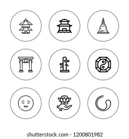 Buddhism icon set. collection of 9 outline buddhism icons with buddhism, calm, pagoda, wing chun, torii gate, yin yang icons. editable icons.