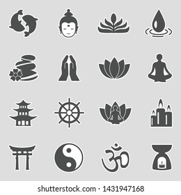 Buddhism Icons. Sticker Design. Vector Illustration.