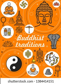 Buddhism religion and Buddhist meditation tradition symbols. Vector Dharma signs, Buddha monk mudra, Yin Yang fish sign or temple drums, elephant and Buddhist beads, stones with swastika and lotus