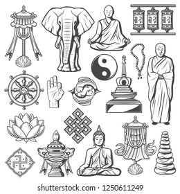 Buddhism religion icons and signs isolated. Lotus and rosary, elephant, fingers showing ok, Buddha in meditation pose. Swastika and monk, stones and drums spinning, yin yang, dharma wheel, infinity
