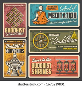 Buddhism religion sacred symbols of vector yin yang, buddhist dharma wheel and Buddha statue, lotus flower, tibetan prayer wheels and temple stupas, treasure vase and endless knot. Meditation school