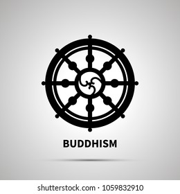 Buddhism religion simple black icon with shadow