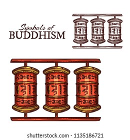 Buddhism religion symbol of Tibetan Buddhist prayer wheel sketch. Red wooden cylinder with mantras and golden decoration for Tibetan Buddhist monk tradition, Asia and India religion themes design