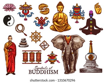 Buddhism religious meditation and Zen symbols. Vector Buddha monk mudra, Yin Yang fish sign or Dharma wheel and temple drums, elephant and Buddhist victory banner or beads and swastika