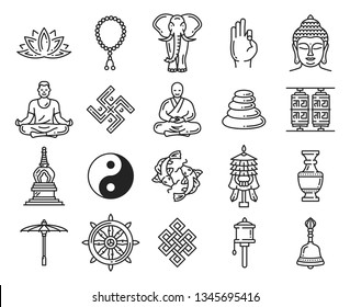 Buddhism religious symbols and icons, vector linear elements. Lotus and rosary, elephant and ok sign, Buddha and meditation, swastika and monk, pebble pile and mortar, yin yang, dharma wheel