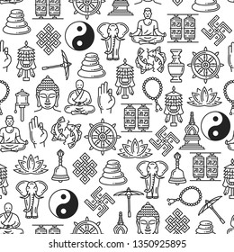 Buddhism seamless pattern of Zen meditation and religious line symbols. Buddha monk mudra, Yin Yang or Dharma wheel and temple drums, elephant and Buddhist beads and swastika vector background